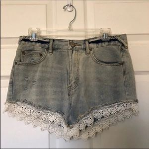 High Waisted Lace Trim Shorts